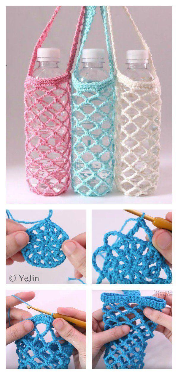 Photo of Spektakulärer Netzflaschenkäfig Free Crochet Pattern Flaschenhalter aus …