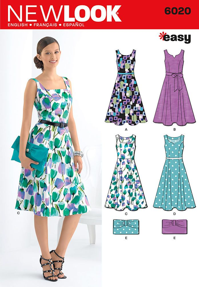 new look easy sewing pattern misses\' dress with sash and purse.<br ...