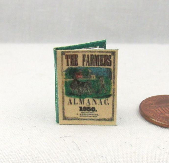 1853 Farmers Almanac PRINTED PAGES OF WORDS 1:12 Scale Dollhouse Miniature