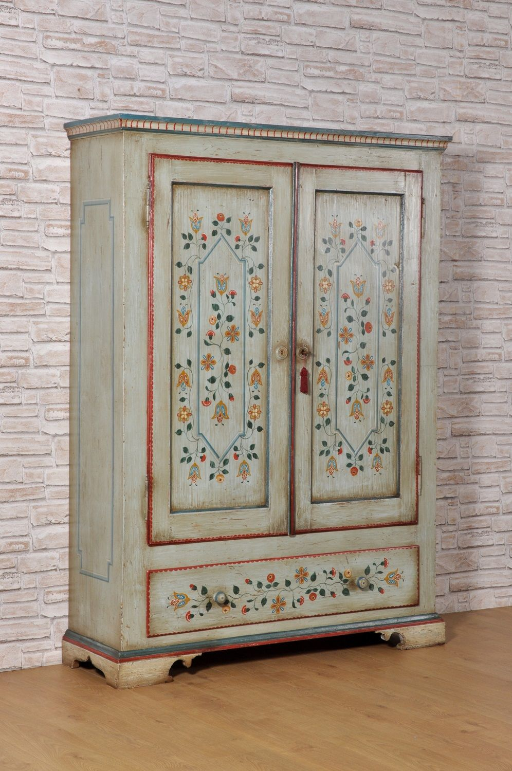 Tyrolean Luxury Wardrobe In Solid Fir Wood With Two Doors And A About Designs In 2020 Luxury Wardrobe Painted Wardrobe Paint Furniture