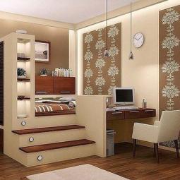 Bett Podest Schreibtisch Wohnungsplanung Schlafzimmerideen Fur Kleine Raume Haus Interieurs