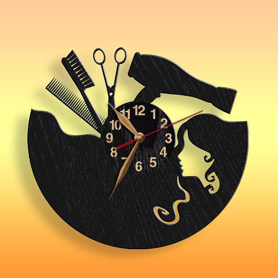 Clock Beauty Salon, Hair styler BIG Wood Non-ticking, Wall Art Decor ...