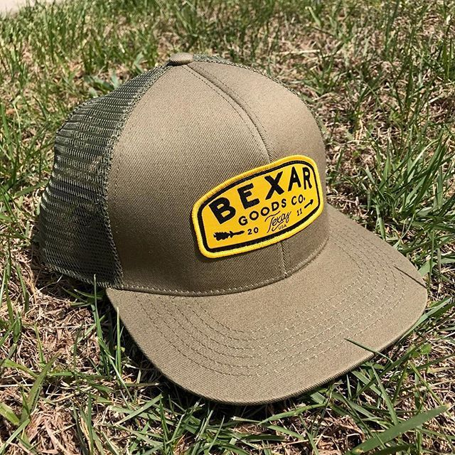 Custom 6 Panel Flat Brim Truckers for Bexar Goods ( bexargoods) - - branding  includes cotton twill front construction 589523a5db60