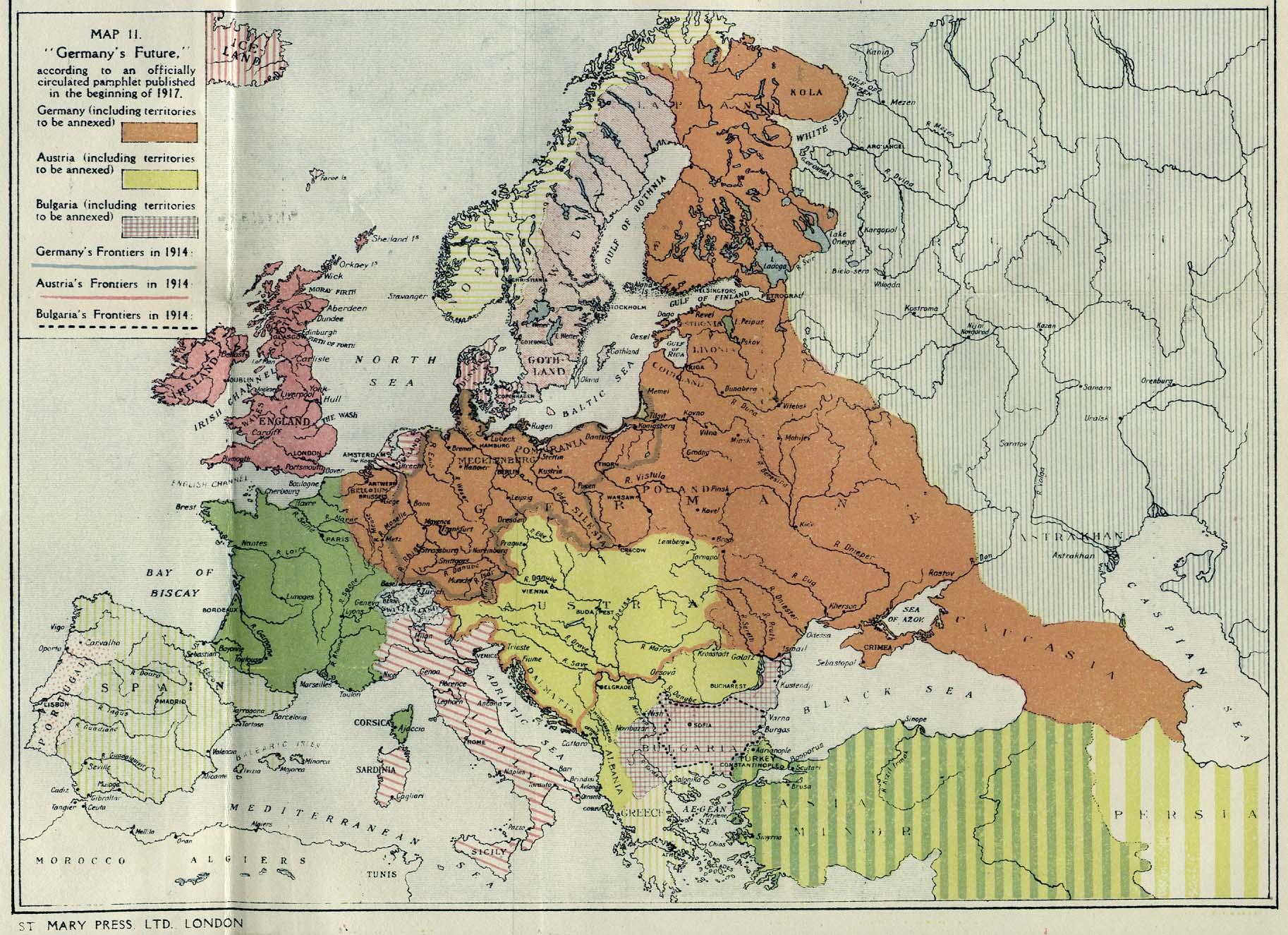 1917 British propaganda map showcasing alleged German