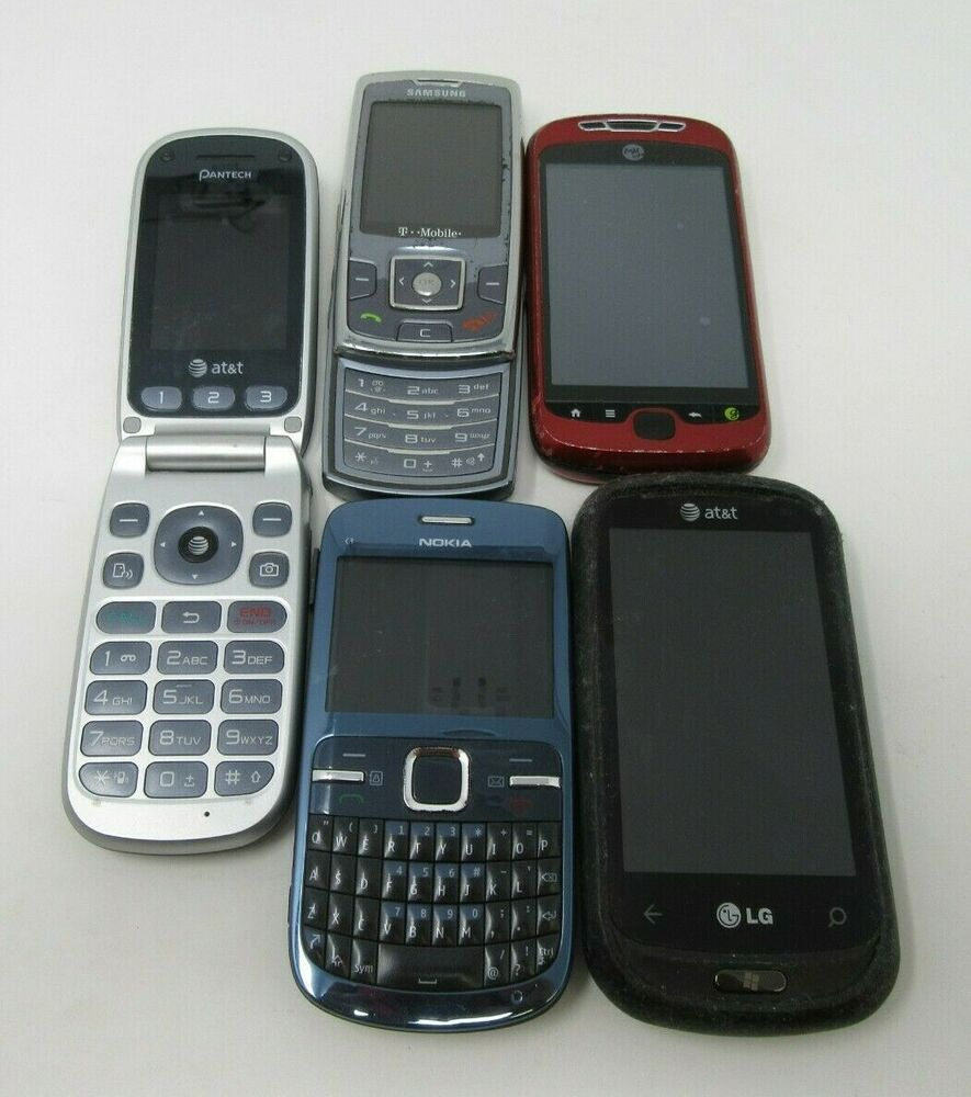 Lot Of 5 Older Various Model Network Cell Phones Parts Repair