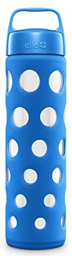 Ello Pure Glass Water Bottle with Silicone Sleeve, Cobalt...