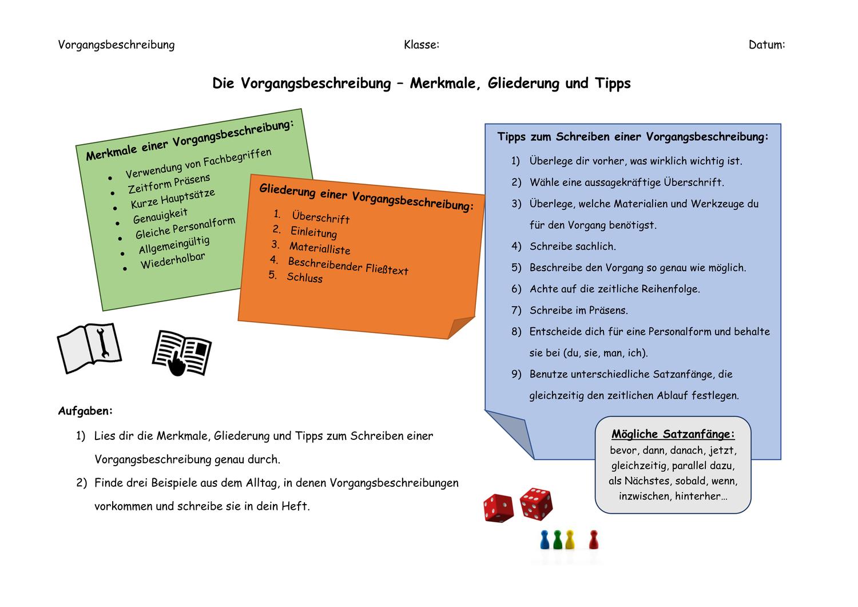 Vorgangsbeschreibung Merkmale Gliederung Tipps Unterrichtsmaterial Im Fach Deutsch In 2020 Vorgangsbeschreibung Unterrichtsmaterial Satzanfange