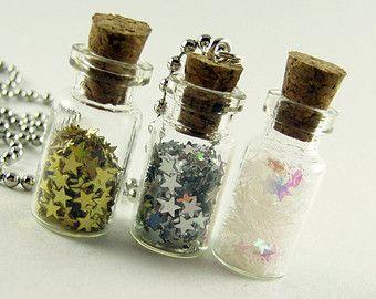 Stars in a 1ml Glass Bottle Necklace - Jar of Stars Glass Vial Pendant - Bottled Stars Star Glitter Charm