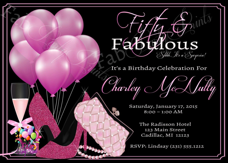 Women\'s 50th Birthday Invitation • Adult 50th Birthday Party ...