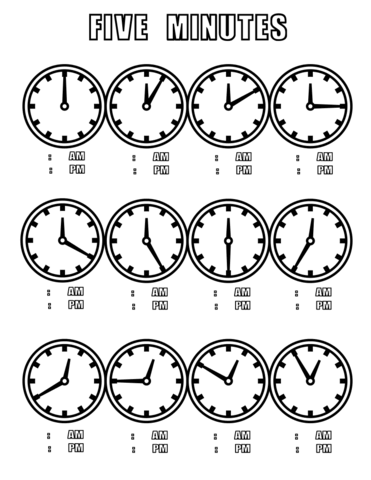Five Minutes Coloring Page From Telling Time Worksheets Category Select From 26204 Printable Crafts Of Coloring Pages Time Worksheets Telling Time Worksheets