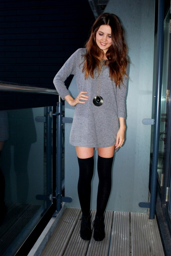 0233e4cbcb3 Gray Sweater Dress + Long Necklace + Black Over the Knee Socks + Lace Up  Booties  medias  largas  altas  vestido  corto  abitto