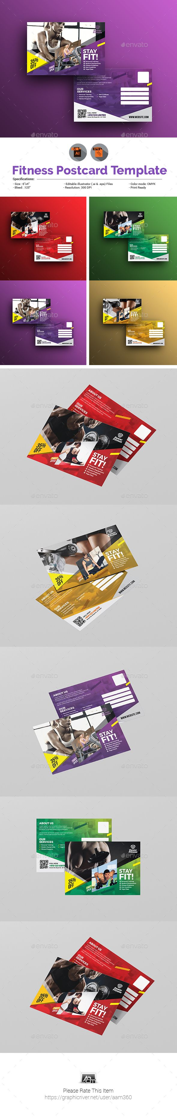 Sports Fitness Gym Postcard Template Cards Invites Print