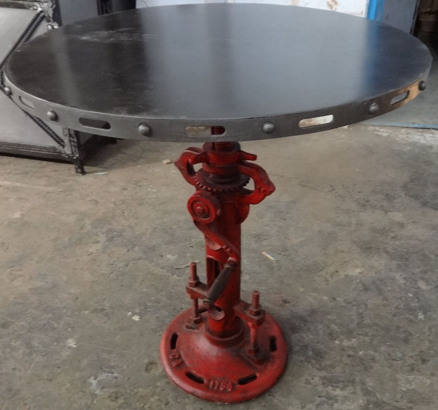 Cast iron industrial crank table side table with round metal top industrial crank coffee table find complete details about industrial crank coffee tableindustrial crank tablecast iron crank tableindustrial vintage geotapseo Image collections