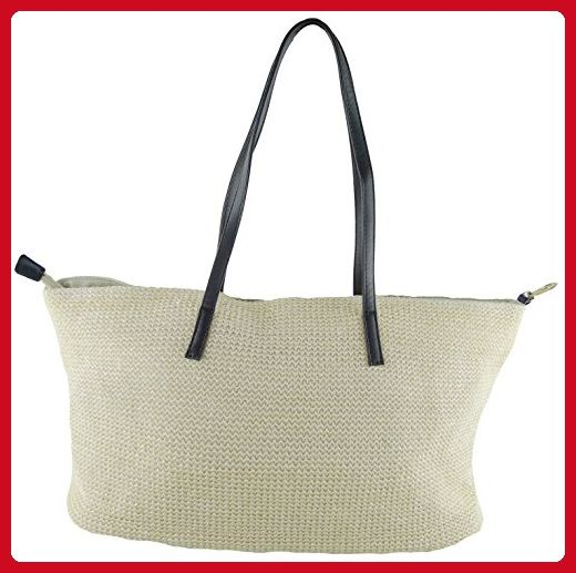 5bdcdef93739 Fedo Design 0001 Summer Beach bag Straw with PU Woven Tote Shoulder ...