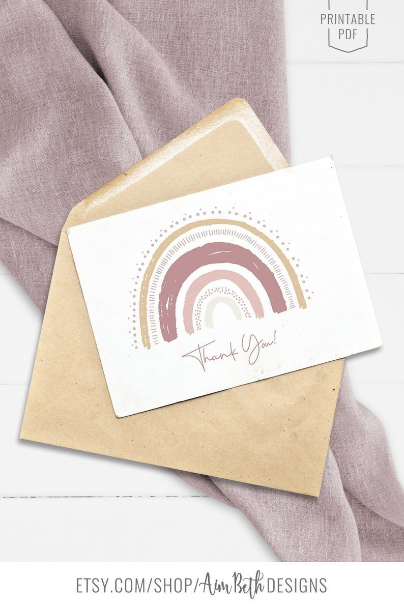 Rainbow Thank You card file Girl Muted Rainbow Baby Shower Printable Birthday Party Thank You card