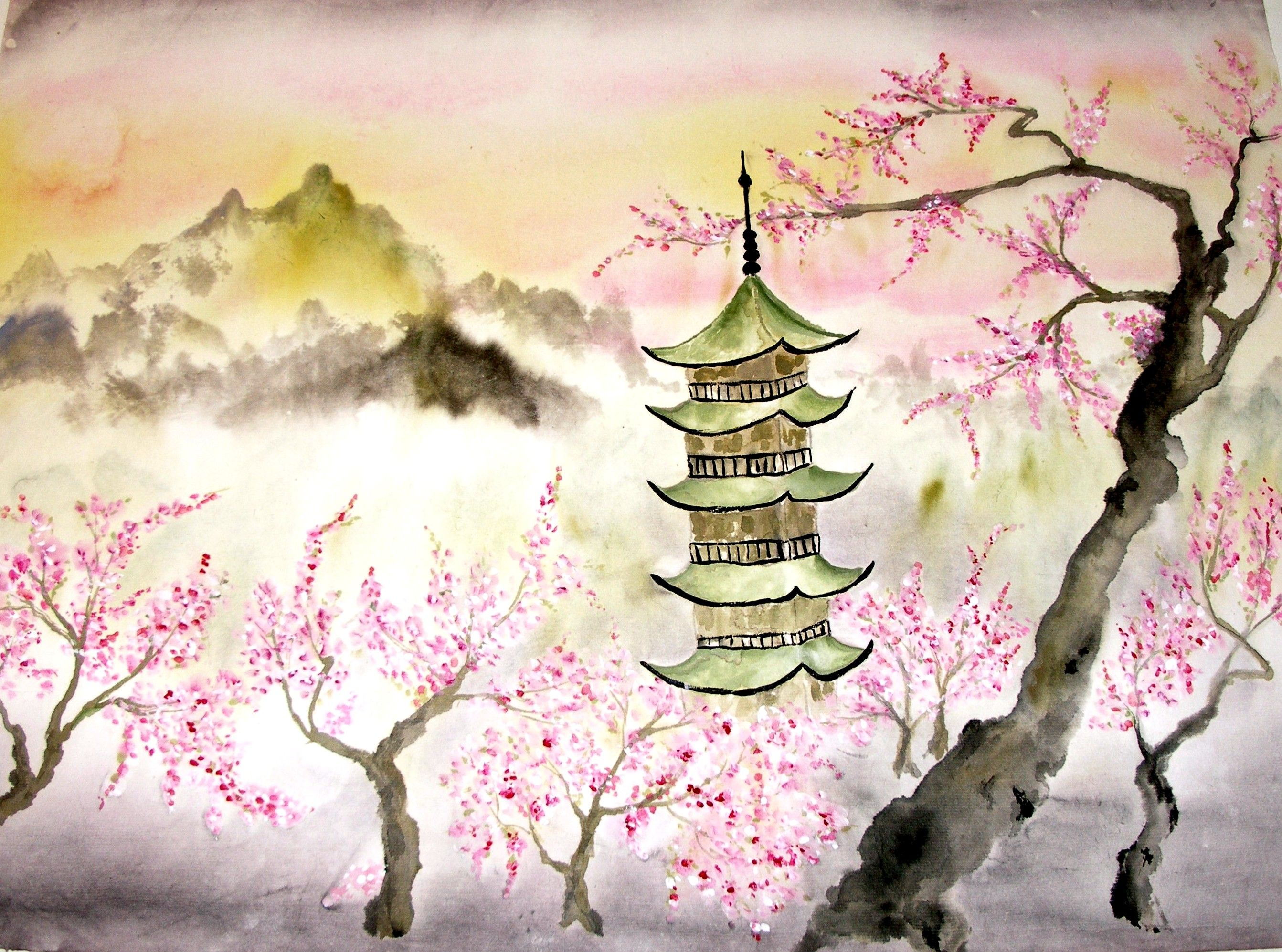 Japanese Cherry Blossom Drawings Japanese Cherry Tree