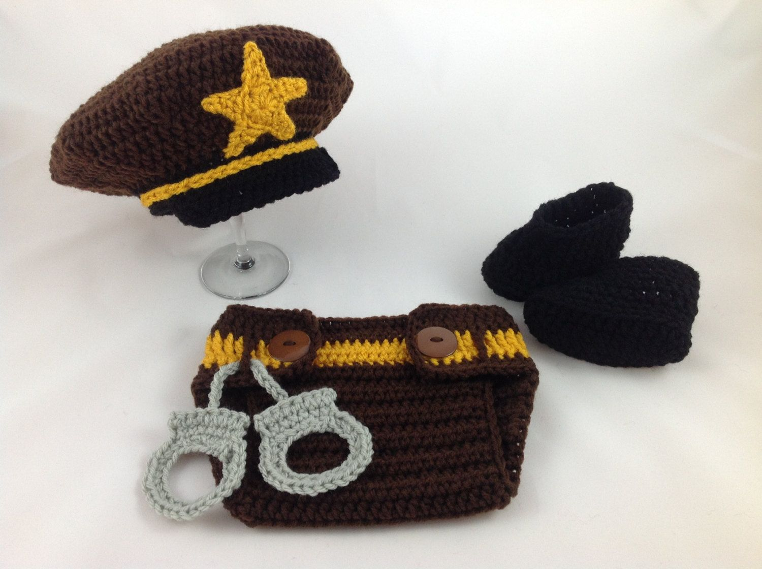 e896770cf44 Baby Sheriff Hat Outift - Crochet - Photography Prop - Baby Shower Gift -  Baby Cop - Policeman Hat by TimelessCrochetCraft on Etsy