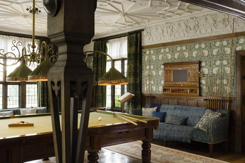 The Billiard Room At Wightwick Manor Wolverhampton West Midlands One Of The Openwork Pillars Of The Ingle Inglenook Fireplace Billiard Room Morris Furniture