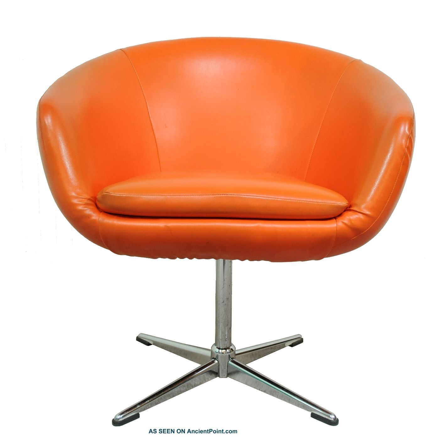 Vtg Mid Century Modern Orange Shelby Williams Pod Lounge Chair Overman  Danish Er Post 1950