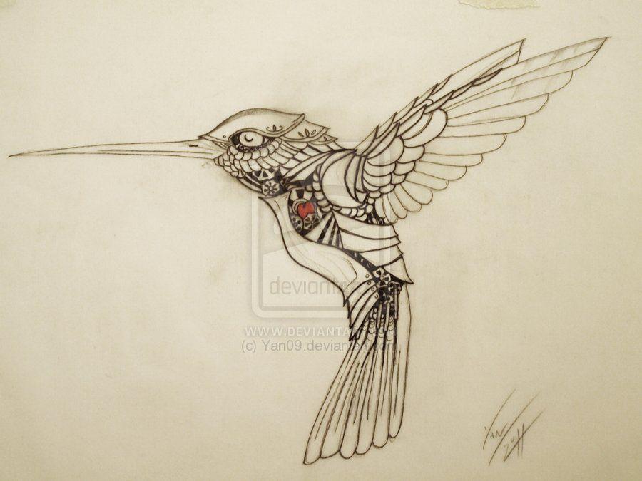 Mechanical Hummingbird Iain Hegoburu Http Yan09 Deviantart Com Art My Mechanical Humming Bird Tat 201585629 Bird Drawings Bird Sketch Steampunk Bird