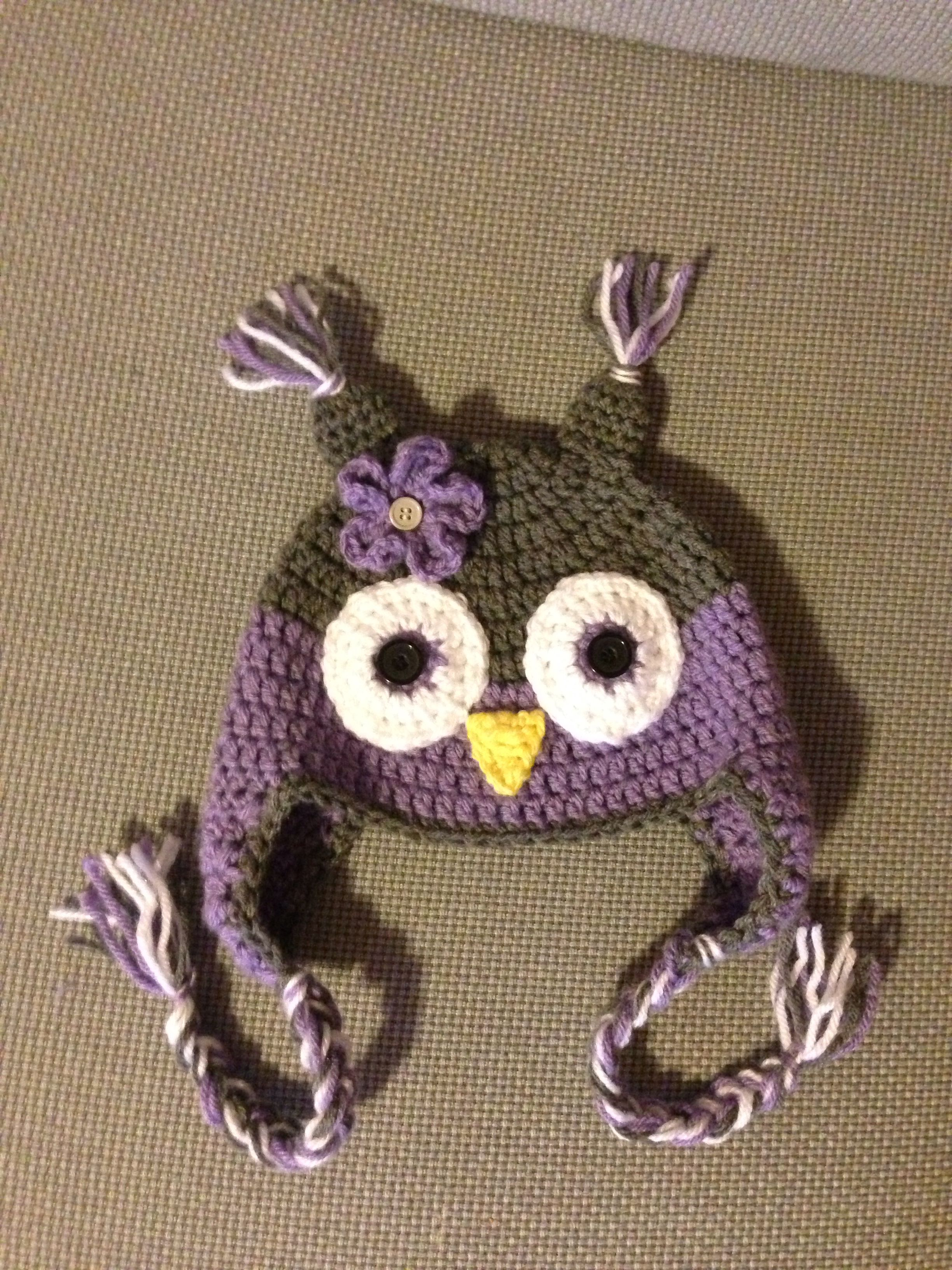 Child size owl hat - yarn impeccable -true grey and clarel (purple ...