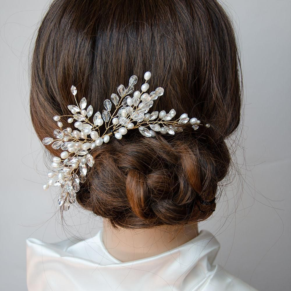 branches pearls and crystals cluster headpiece hair comb