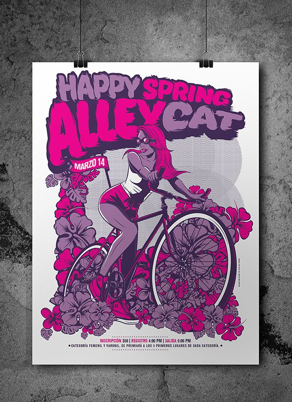 Happy Spring Alleycat 2015 on Behance by Wes Art Studio