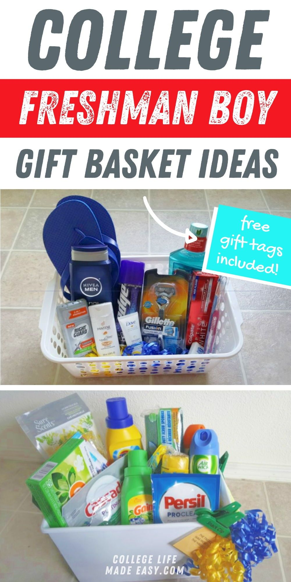 3 diy college gift baskets for boys free gift tags