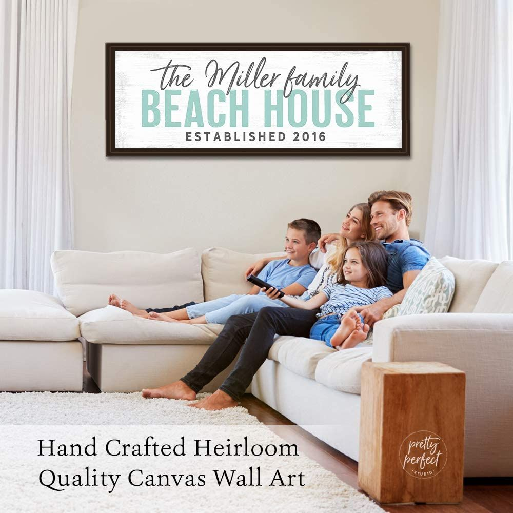 Custom Beach House Sign In 2020 Name Wall Art Personalized Family Lake House Signs