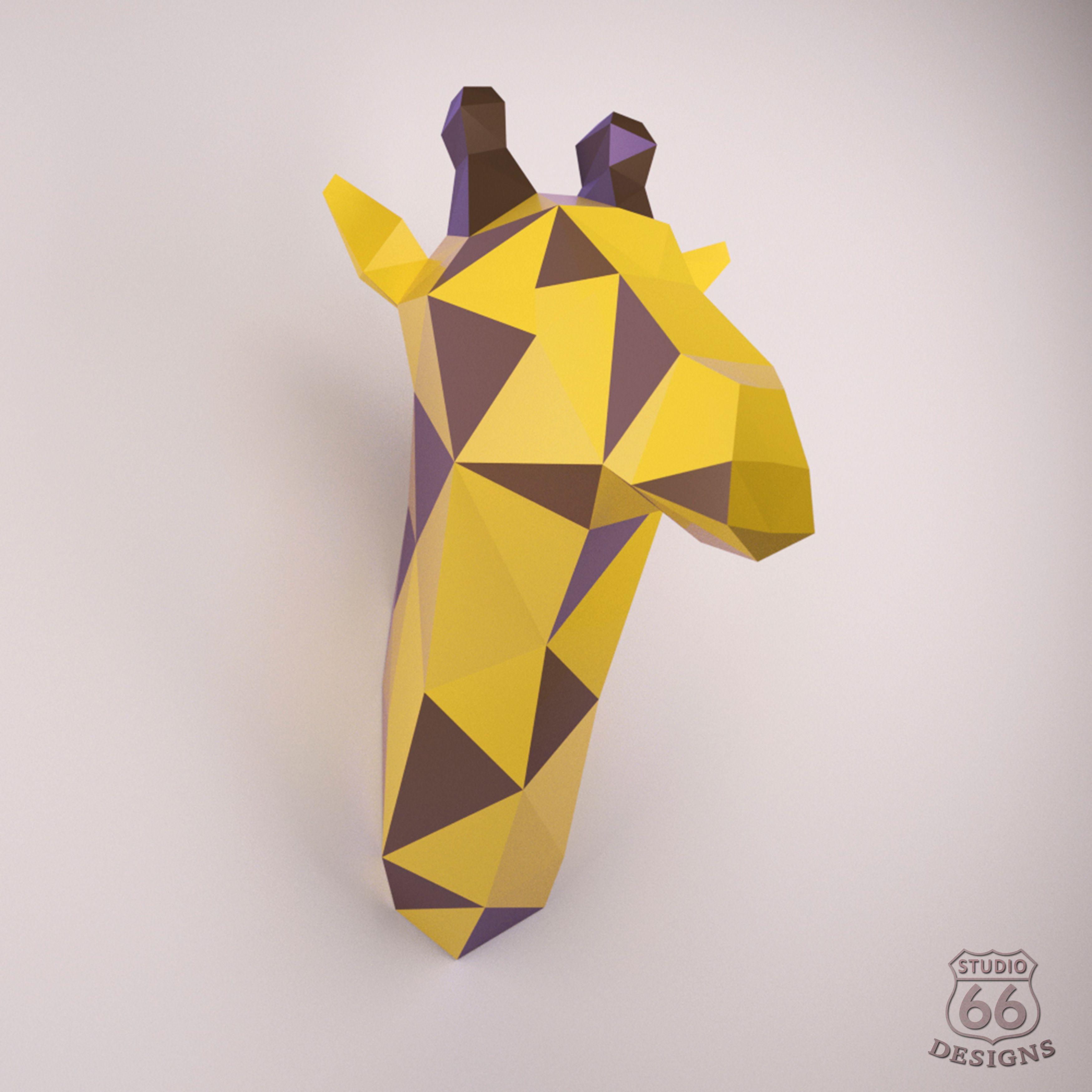 Giraffe paper Instant Pdf download Paper Mask Paper Trophy Giraffe DIY template wall decoration Giraffe lowpoly Giraffe