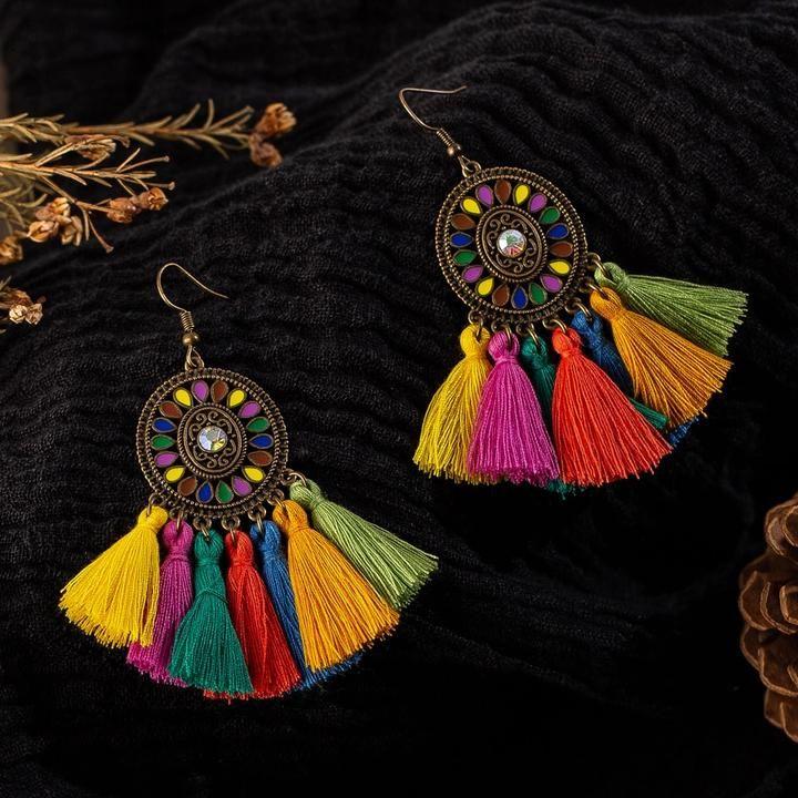 New Women Boho Long Tassel Fringe Dangle Earrings Vintage Bohemian Jewelry Gift