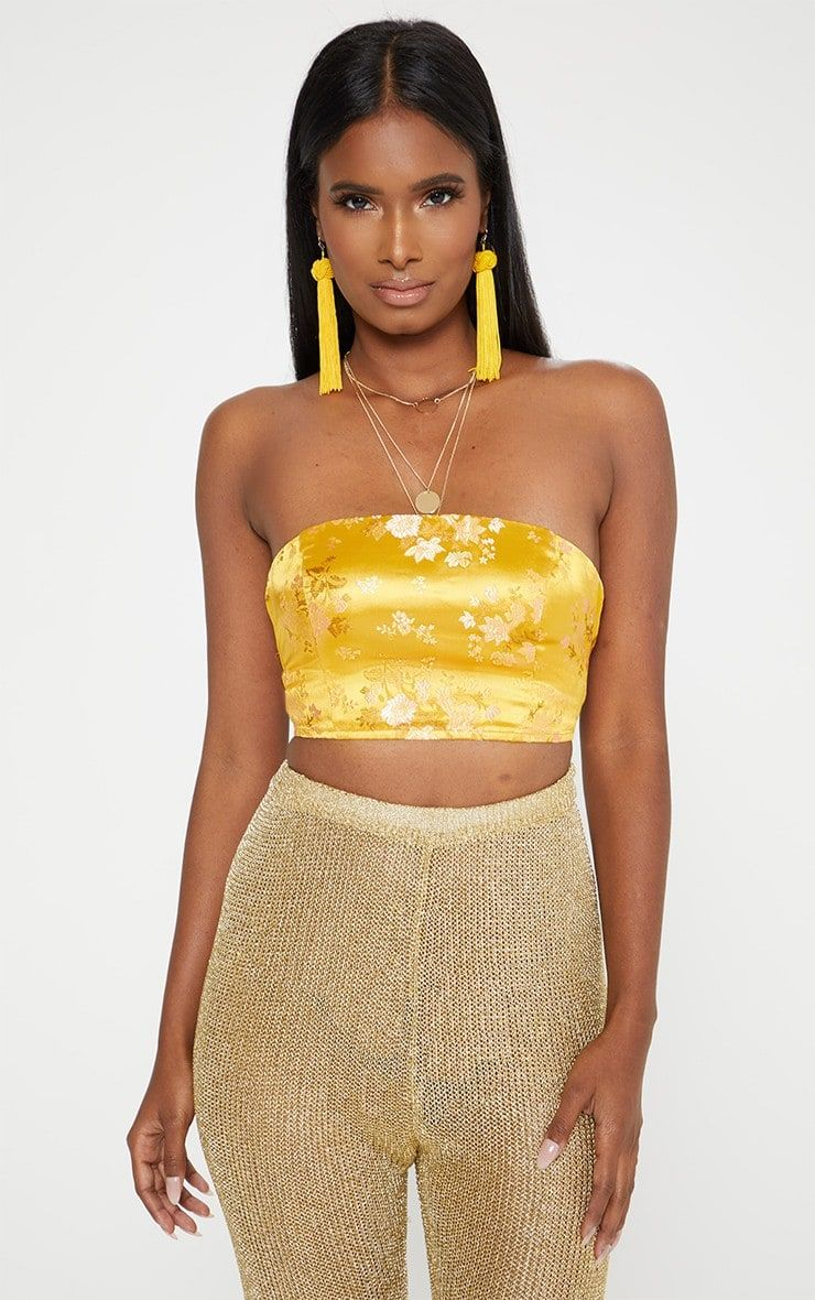 eb6b4b08a5 Yellow Satin Oriental Jacquard Lace Up Back Bandeau TopThis bold yellow crop  top is giving us all.