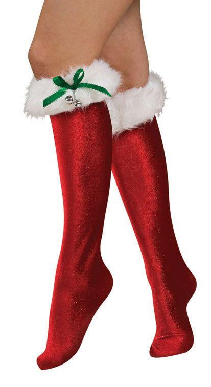 Women S Santa Costume Knee High Socks Halloweencostumes4u