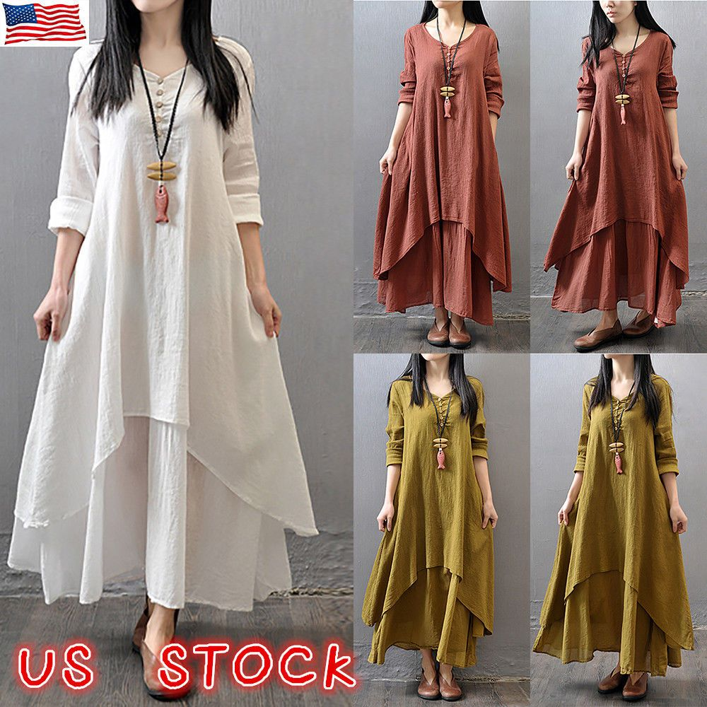 Dress Type Xff1a Maxi Dress Exact Material Xff1a Cotton And Linen Style Xff1a Casual Sleeve Maxi Dress With Sleeves Long Linen Dress Cotton Linen Dresses [ 1000 x 1000 Pixel ]