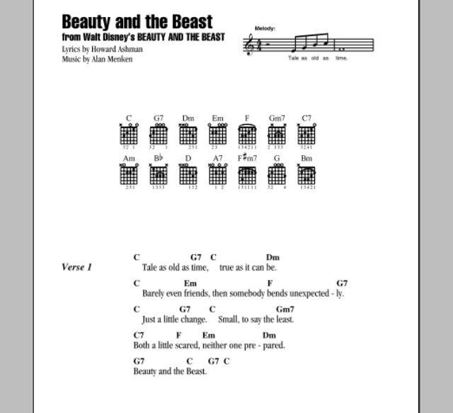 Beauty And The Beast Ukulele Songs Ukulele Songs Disney Ukulele Chords Songs