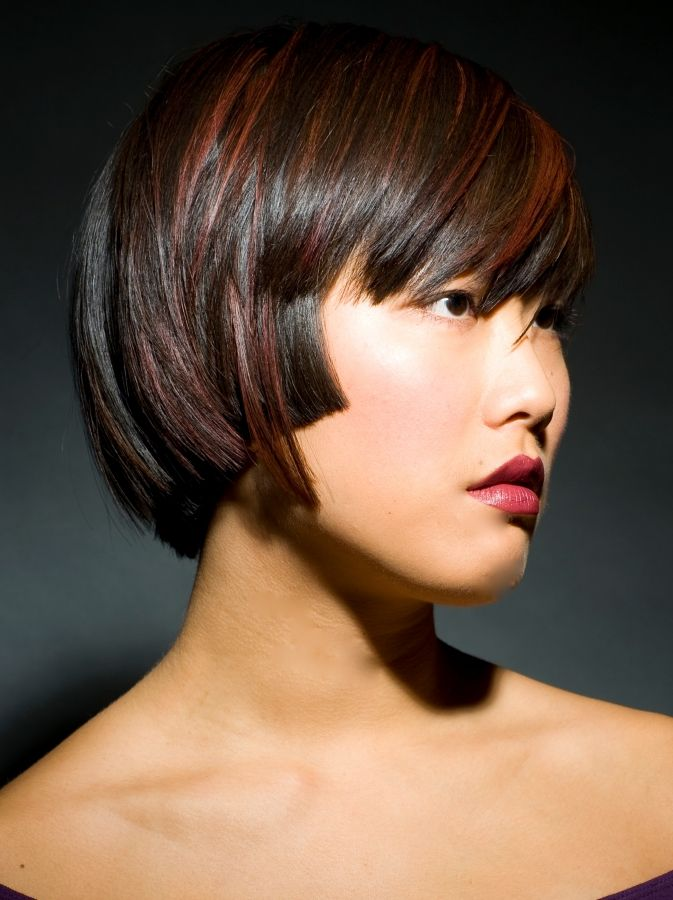 Short Black Hair With Red Highlights In Asian Women Women Natural