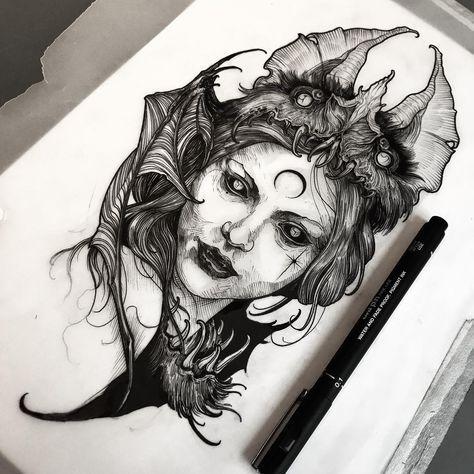 Photo of Körperskizzen Tattoo Designs – visages noirs et gris – #Noir #Designs #Faces …