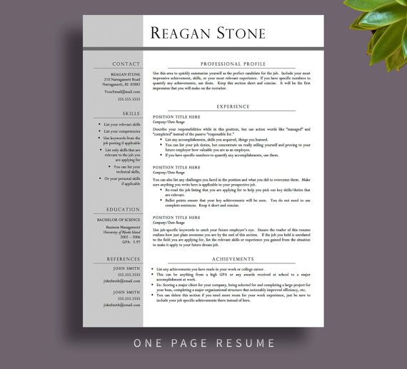 Professional Resume Template One  Two Page By Printablesbylulu