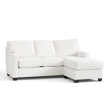Buchanan Sofa With Chaise Fairmont Collection Square Arm Upholstered Reversible Sectional Potterybarn Performance Canvas Silver Taupe 1500