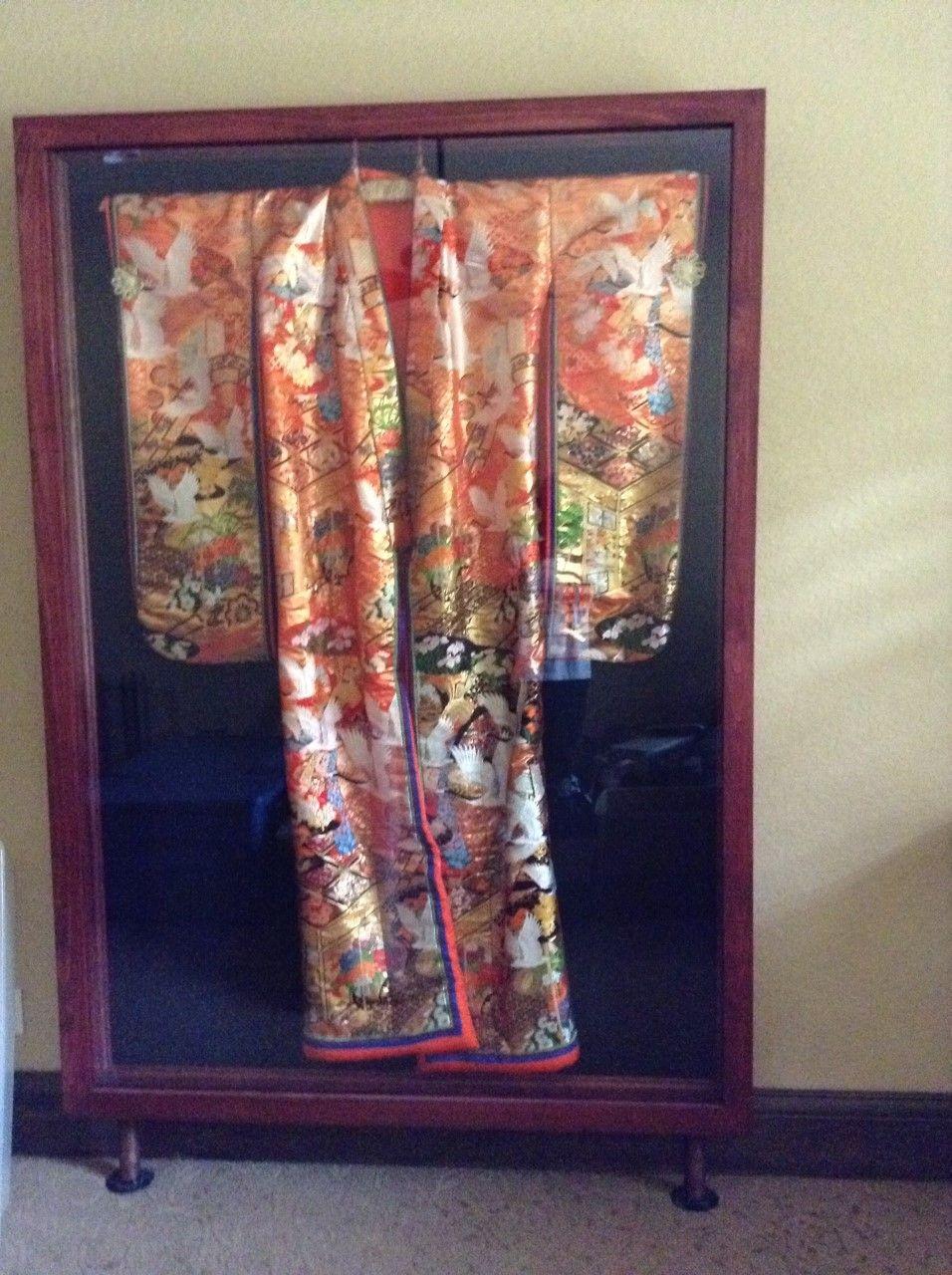 Rare vintage antique Wedding Kimono 8ft X 4ft Display case ...