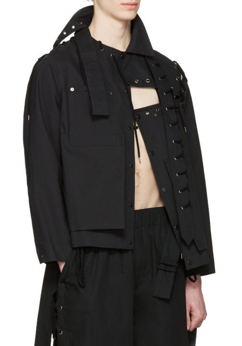 Craig Green Black Laced Workwear Jacket From Ssense Men Style Fashion Clothing Shopping Recommendations Stylish Menswear Male Streetstyle Inspo Outf