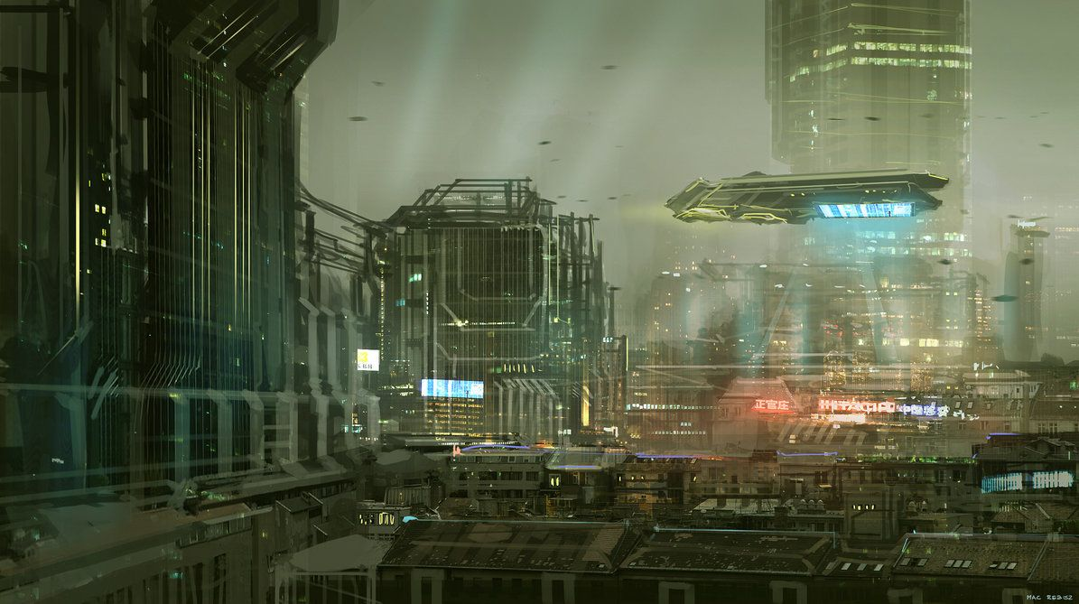 CoffeePainting: Sci-fi city by MacRebisz http://browse.deviantart.com/art/CoffeePainting-Sci-fi-city-334581769