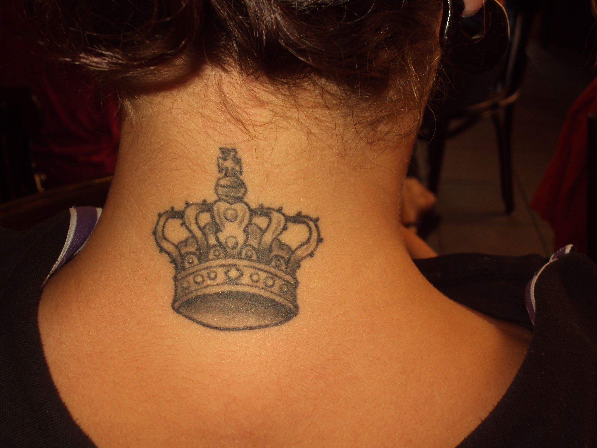 Black And Grey Queen Crown Tattoo On Girl Back Neck Crown Tattoos For Women Crown Tattoo Design Small Crown Tattoo