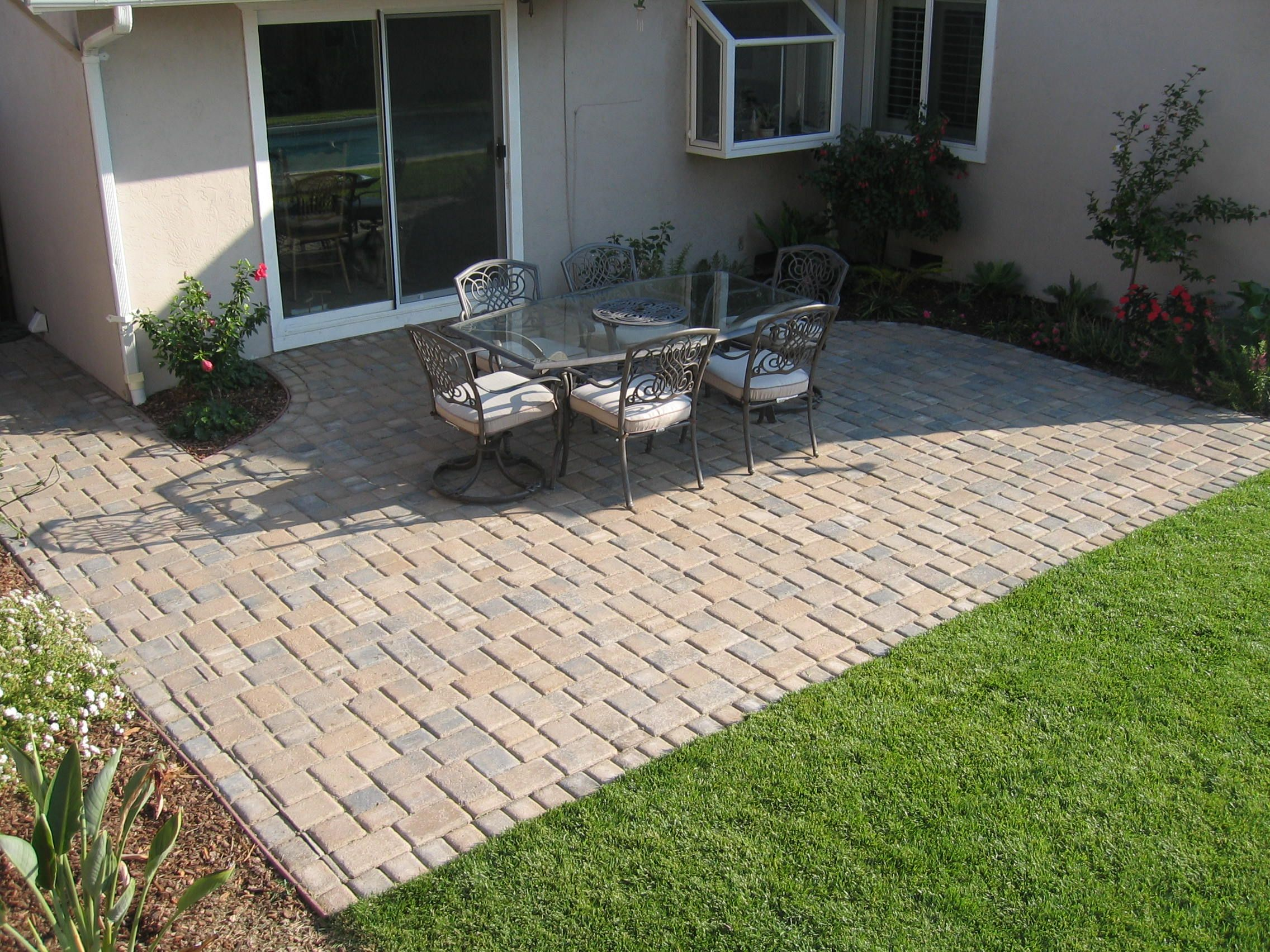stone paver patio with garden cut out backyard ideasbackyard - Patio Paver Design Ideas