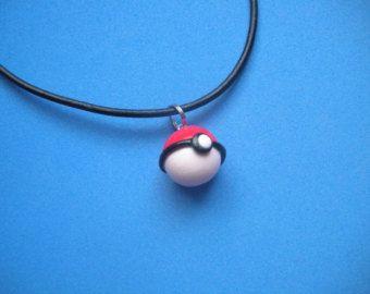 Kawaii Pokemon Pokeball Charm Necklace 100% Leather Pikachu Poké Ball