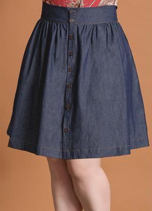 fa4b86fb3 Saia Evasê (Jeans) com Botões Frontais Plus Size