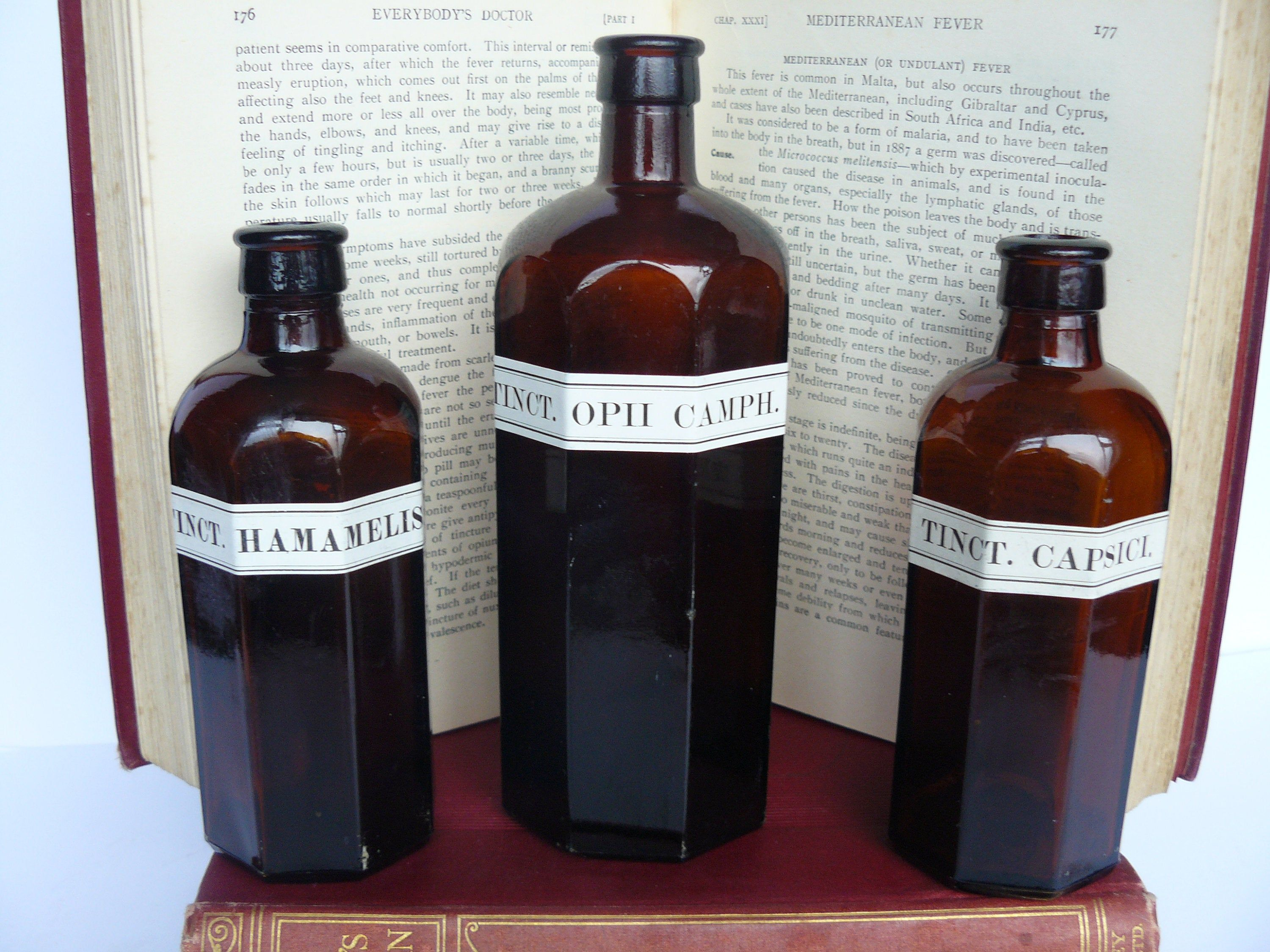 3 vintage chemist apothecary amber glass bottles with