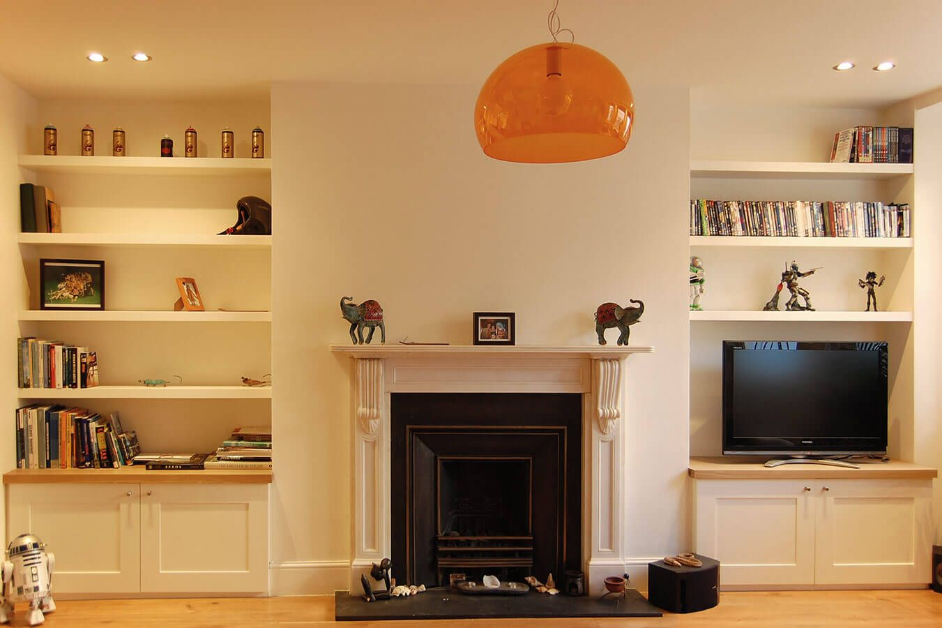 Brick Fireplace With Shelves Either Side