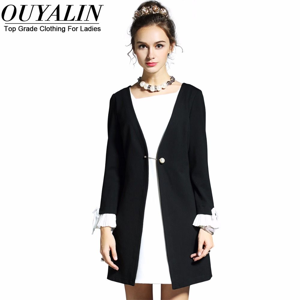L xl korean style office dress autumn back white patchwork slim