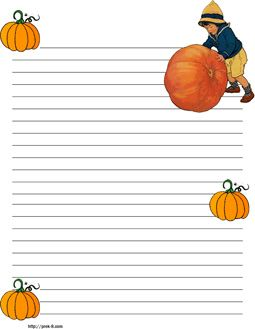 halloween boy with big pumpkin stationery free printable halloween writing paper - Printable Halloween Writing Paper
